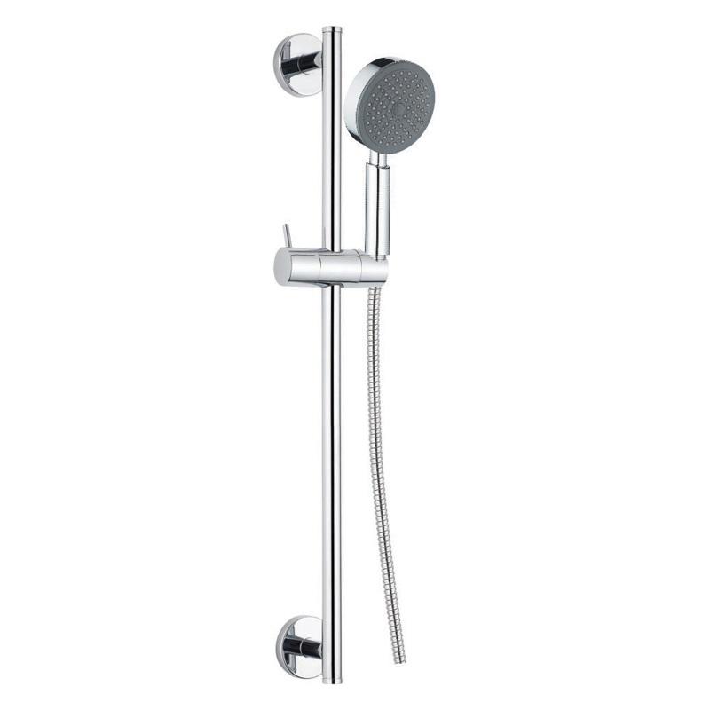 Sprchová súprava, jednopolohová sprcha, dvojzámková nerez hadica, nastaviteľný držiak, plast /chróm