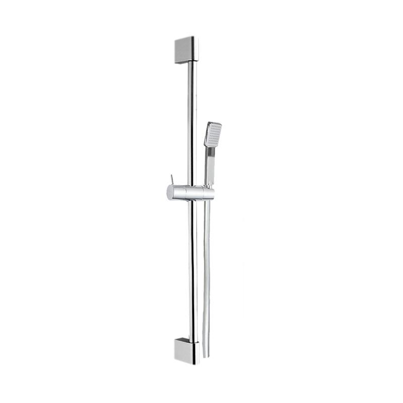 Sprchová súprava, jednopolohová sprcha, šedostrieborná hadica, systém nastavit.  držiak, plast/chróm