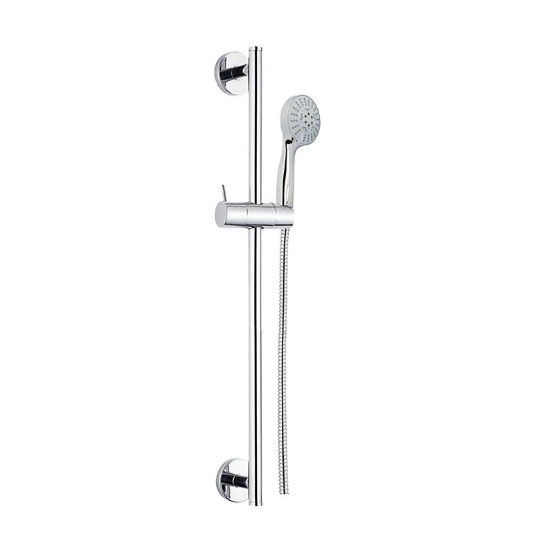 Sprchová súprava,päťpolohová sprcha, dvojzámková nerez hadica, nastaviteľný držiak, plast/chróm
