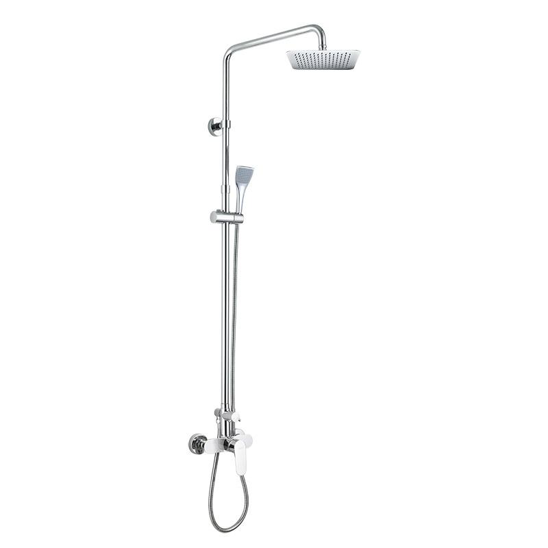 Nástenná sprchová batéria Viana so sprchovou tyčou, hadicou, ručnou a tanierovou hranatou sprchou