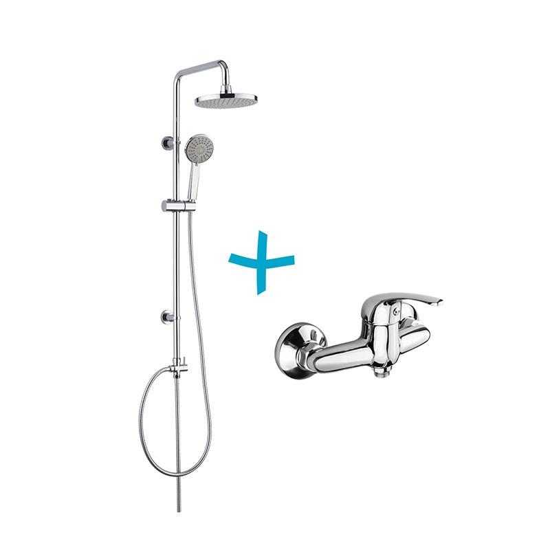 Sprchová souprava Lila-plastová hlavová sprcha a třípolohová ruční sprcha vč. sprch. baterie 150 mm (CBEE609)