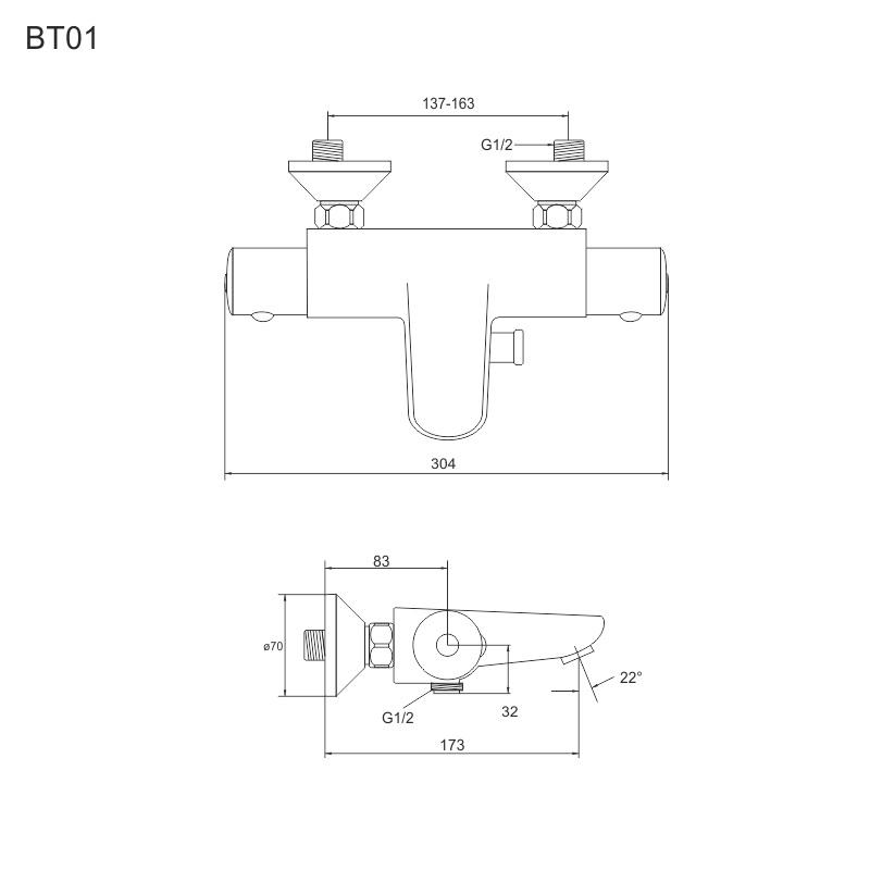 Vanový set: termostatická baterie + sprch. souprava CB469D (BTV01)