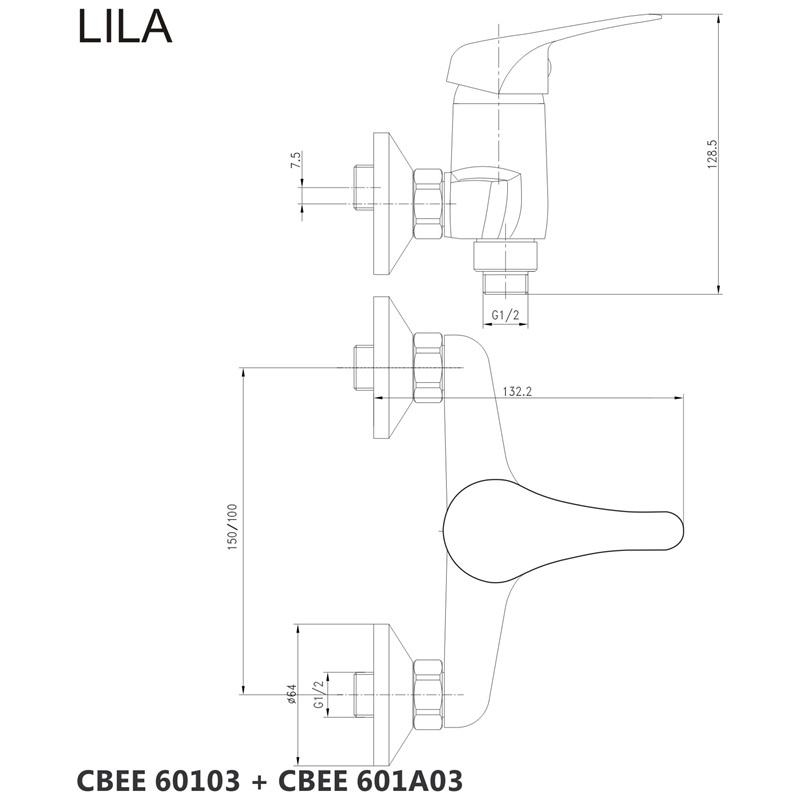 Sprchová souprava Lila-plastová hlavová sprcha a třípolohová ruční sprcha vč. sprch. baterie 100 mm (CBEE609A)