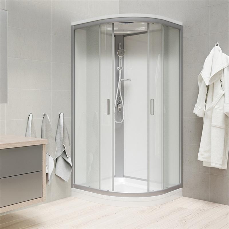 Mereo, Sprchový box, štvrťkruh,100cm, satin ALU, sklo Point, zadne steny biele, liatá vanička, so strieškou CK35162MSW