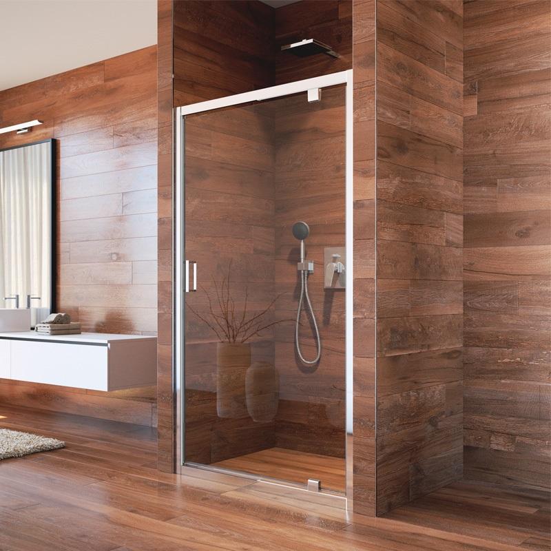 Mereo, Sprchové dvere LIMA, pivotové, 80x190 cm, chróm ALU, sklo Číre 6 mm CK80913K