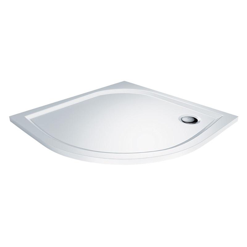 Mereo, Štvrťkruhová sprchová vanička, 100x100x3 cm, R550, bez nožičiek, liaty mramor CV75M