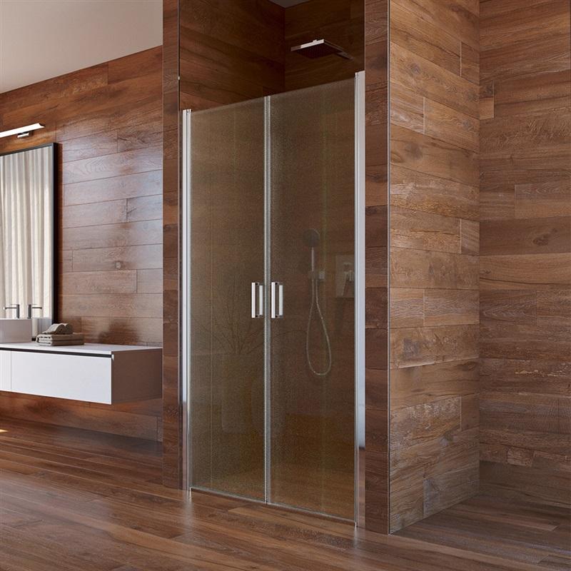 Mereo, Sprchové dvere, LIMA, dvojkrídlové, lietacie,  85 cm, chróm ALU, sklo Point CK80572K