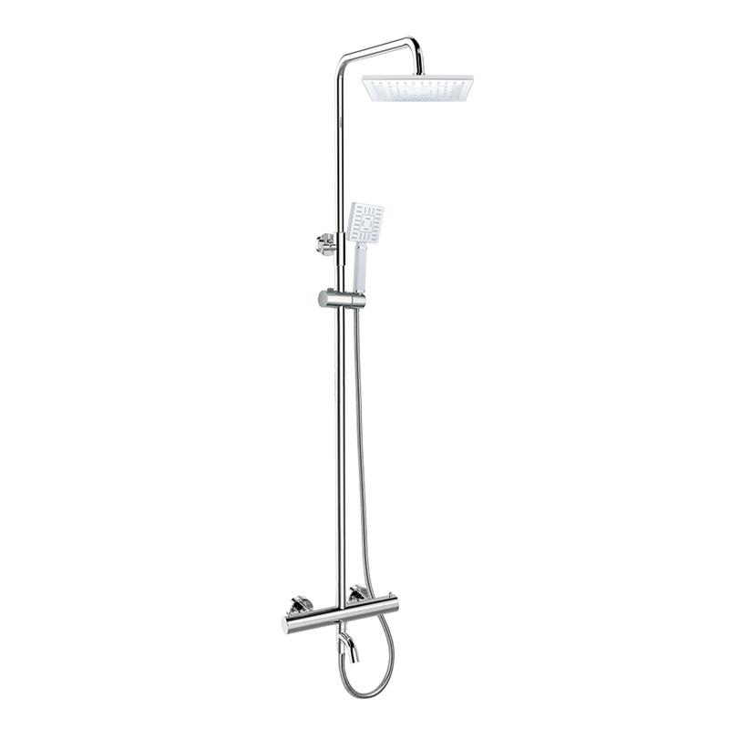 Mereo, Termostatická nástenná vaňová batéria s hadicou,ručnou a tanierovou hranatou sprchou 220x220mm CB60101TSB