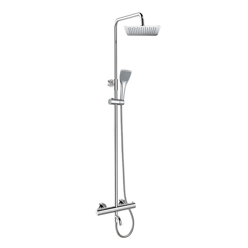 Mereo, Termostatická nástenná vaňová batéria s hadicou,ručnou a tanierovou hranatou sprchou slim 200x200mm CB60101TSD