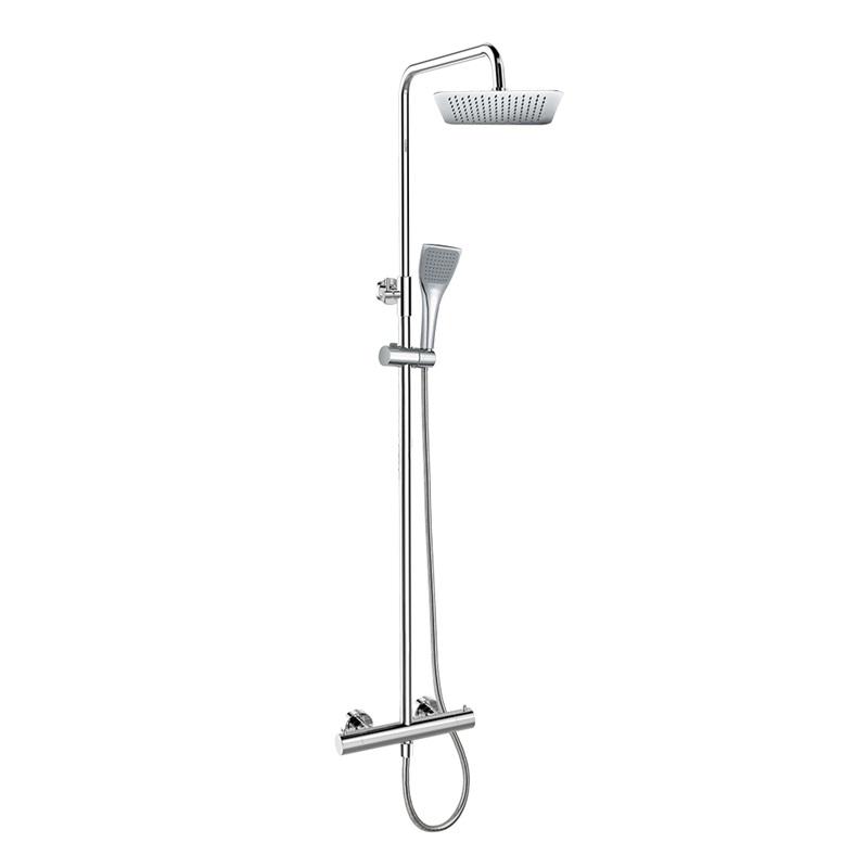 Mereo, Termostatická nástenná sprchová batéria s hadicou,ručno a tanierovou hranatou sprchou slim 200x200mm CB60104TSD