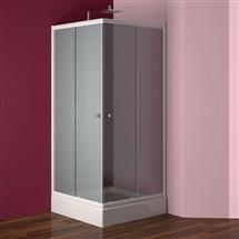 Sprchový set: kout Kora, čtverec, 90x90x185 cm, bílý ALU, sklo Grape, vanička a sifon
