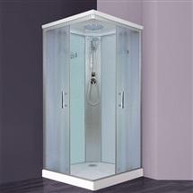 Sprchový box, čtvercový, 90x90 cm, profily satin, sklo Chinchilla