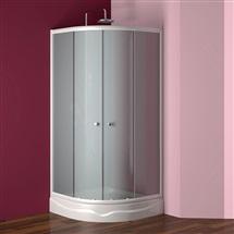 Sprchový set: čtvrtkruhový kout  Kora, 90 cm, R550, bílý ALU, sklo Grape + vanička a sifon