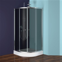 Sprchový set: kout čtvrtkruh, 90 cm, R550, chrom ALU, sklo Kouřové, plastová vanička a sifon