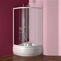 Sprchový set: kout Kora, čtvrtkruh, 90 cm, R550, bílý ALU, sklo Grape, akrylát. vanička a sifon