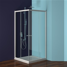 Sprchový set : kout Mistica, čtvercový 80 cm, bílý ALU, sklo Grape, vanička a sifon