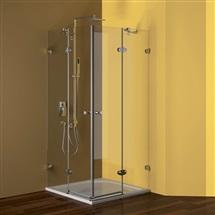 Sprchový set: kout Fantasy 90 cm, čtverec, chrom ALU, sklo Čiré, litá vanička a sifon