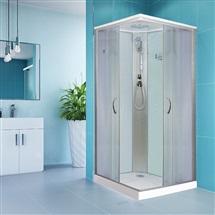 Sprchový box, štvorcový, 90 cm, satin ALU, sklo Point