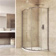 Sprchový set: kút 90x90x185 cm, R550, chróm ALU, sklo Chinchilla a liata vanička